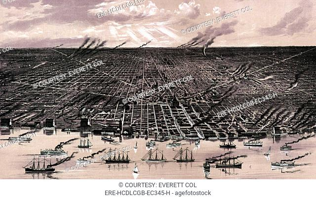 Detroit. Birds eye view--showing about three miles square--of the central portion of the city of Detroit, Michigan. Color lithograph, ca. 1889