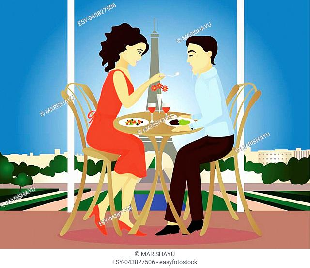 Date in Paris cafe vector illustration