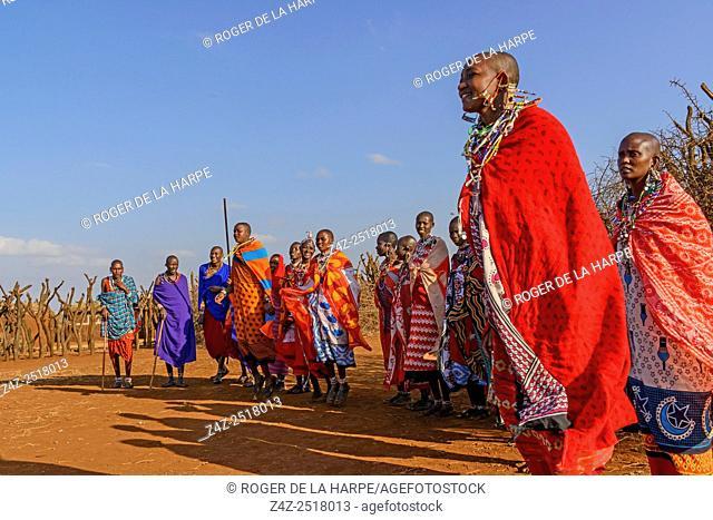 Maasai (Masai) people dancing. Satao Elerai Conservancy. Near Amboseli National Park. Kenya