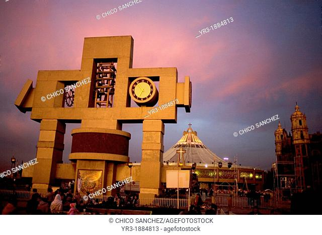 Cross-shaped image symbolizing the cosmos and called nahui-ollin in front of the Our Lady of Guadalupe Basilica at dawn in Mexico City, December 9, 2012
