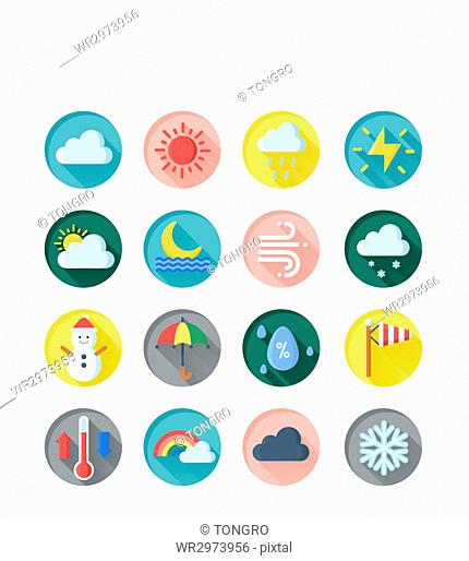 Icon set related to weather
