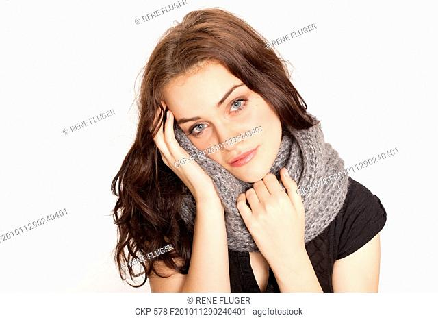 A beautiful young woman, lady, girl, cold, runny nose, headache, scarf CTK Photo/Rene Fluger MODEL RELEASED, MR