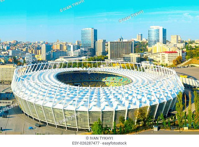 Aerial view of Olympic stadium at sunset. Kiev, Ukraine