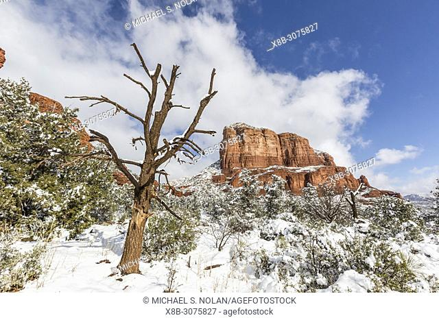 Courthouse Butte after a snow storm near Sedona, Arizona