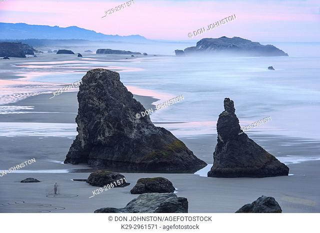 Sea stacks and surf at Bandon Beach at dawn, Bandon, Oregon, USA