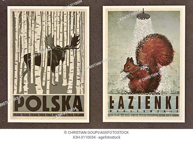 reproduction of posters by Ryszard Kaja, Plakatu gallery, Stolarska street, Krakow, Malopolska Province (Lesser Poland), Poland, Central Europe