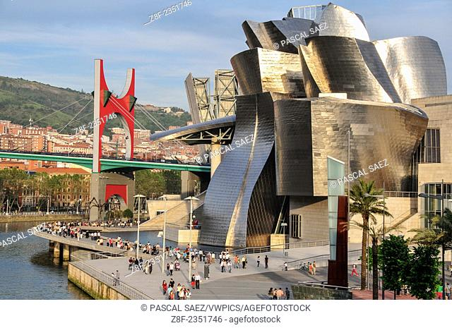 The Guggenheim museum in Bilbao, designed by architect Frank Gehry. In the background, the Salbeko Zubia bridge and the Nervión river on the left