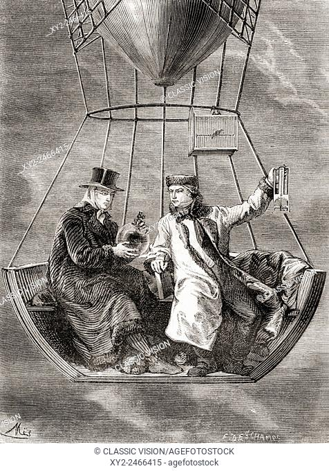 """Gay-Lussac and Biot conducting physics experiments in a hot air balloon, 1804. Joseph Louis Gay-Lussac also Louis Joseph Gay-Lussac; 1778 â. """" 1850"""