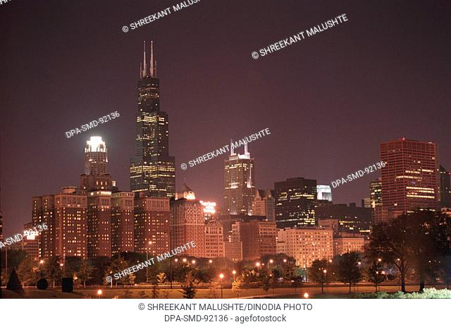 Skyline with world's tallest Sears Tower after sunset , Chicago ,  U.S.A. United States of America