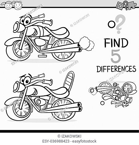 Black and White Cartoon Illustration of Finding Differences Educational Task for Preschool Children with Bike Transport Character for Coloring Book