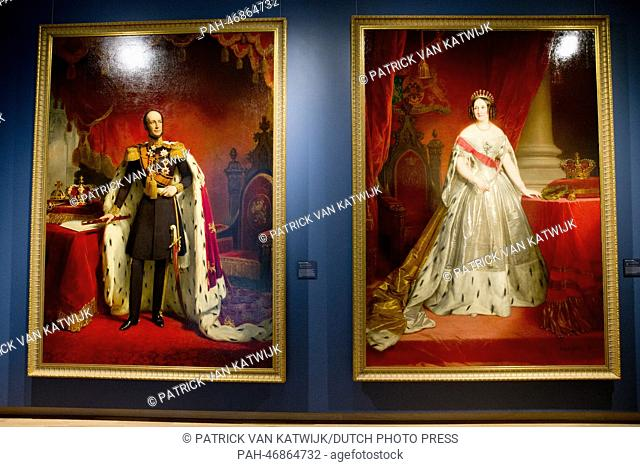 The portrait of King Willem II of the Netherlands (L) by Nicolaas Pieneman and Queen Anna Paulowna by Nicaise de Keyser, from the Hermitage in St