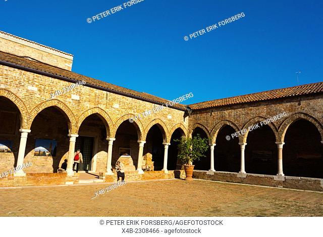 Courtyard with art exhibitions, chiesa di Madona dell'Orto church, Cannaregio, Venice, Italy