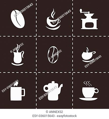Vector coffe icons set on black background
