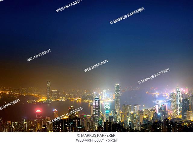 China, Hong Kong, skyline at night