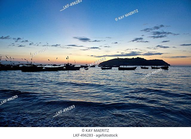 Fishing boats after sunset, Ngapali, most famous beach resort in Burma at the Bay of Bengal, Rakhaing State, Arakan, Myanmar, Burma