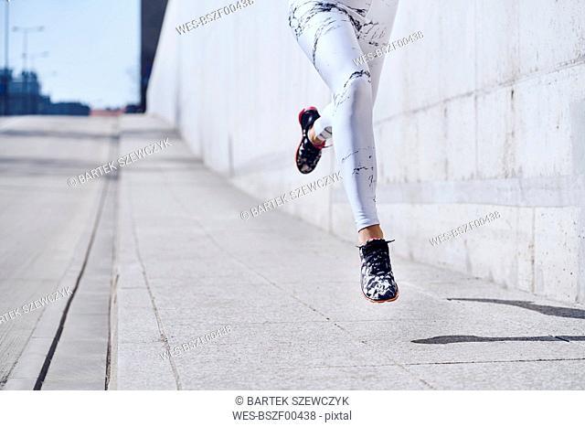 Female runner during urban workout