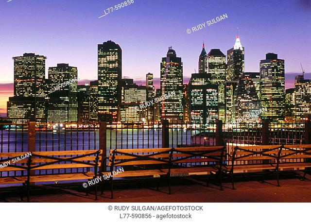View of Manhattan from Brooklyn. New York. USA
