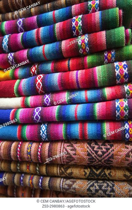 Colorful rugs and blankets for sale at the shop in town center, La Paz, Bolivia, South America