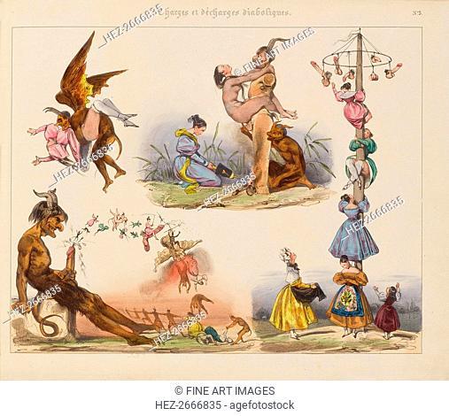 Illustration from the Series Charges et Décharges diaboliques, 1830