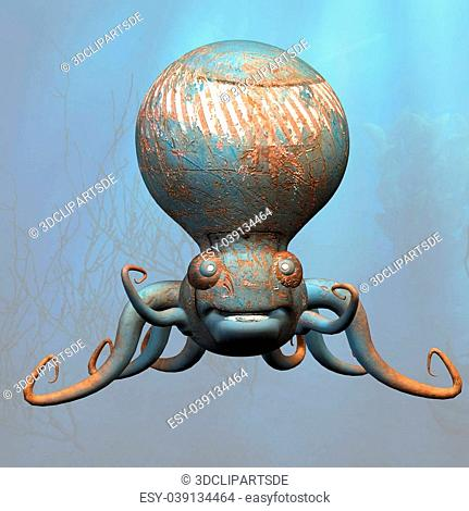 A very cute tentacle monster under the seaWith Clipping Path / Cutting Path
