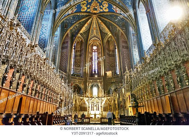 Europe, France, Tarn, Albi. Episcopal city, classified as UNESCO World Heritage. Cathedral Sainte-Cecile. The paintings on the vaulted ceilings 1509-1512 from...