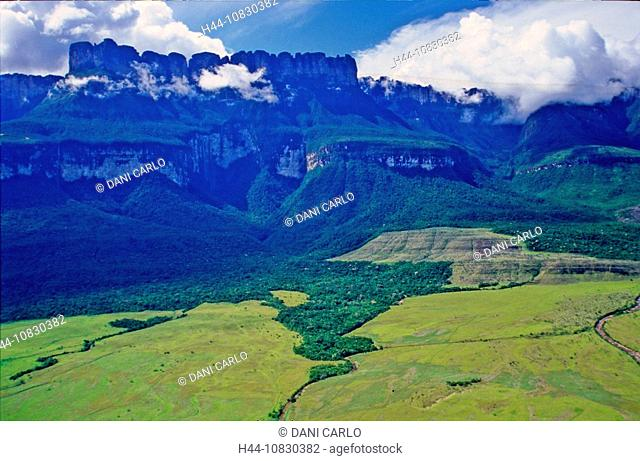 Venezuela, South America, Auyan-Tepui, Table Mountains, Mountain, Landscape, Canaima, national park, Guayana, South Am