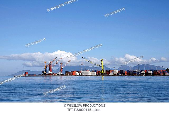 Skyline of container terminal seen from sea