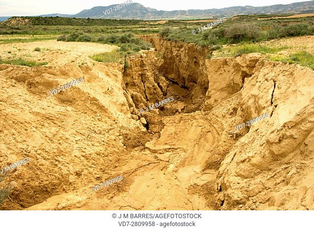 Wadi or rambla is an intermittent stream characteristic of arid climates. This photo was taken in Bardenas Reales, Navarra, Spain