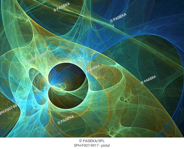 Superstrings, conceptual computer artwork. The superstring theory is a Theory of Everything (Grand Unification Theory), which seeks to unite gravitational force...