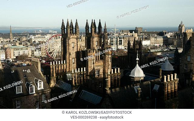 Edinburgh Cityscape with The Assembly Hall in Scotland, United Kingdom