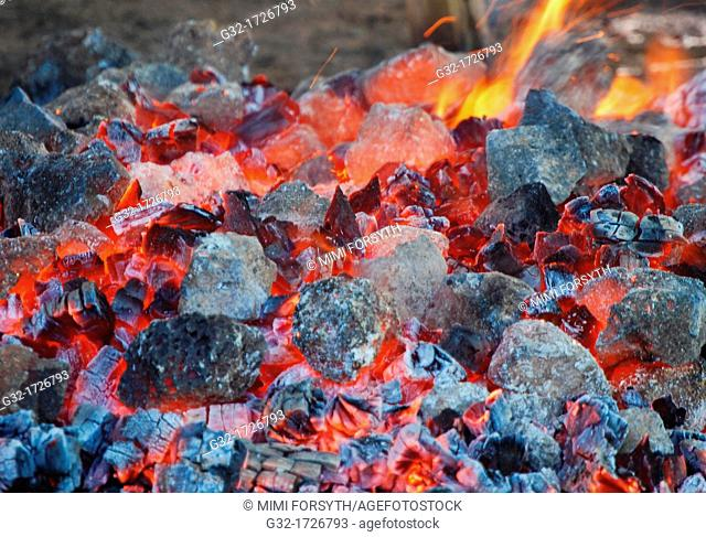 fire burned down to hot coals