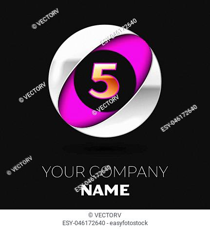 Realistic Golden Number Four logo symbol in the silver-purple colorful circle shape on black background. Vector template for your design