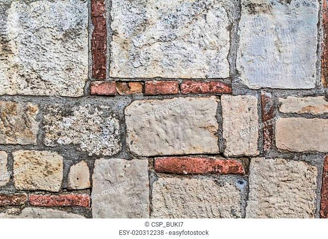 Medieval Fortress Stone-Brick Rampart Detail