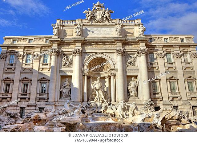 The Trevi Fountain in Rome, Lazio, Italy, Italian Fontana di Trevi is the most popular with about 26 meters high and 50 feet wide largest fountain in Rome and...