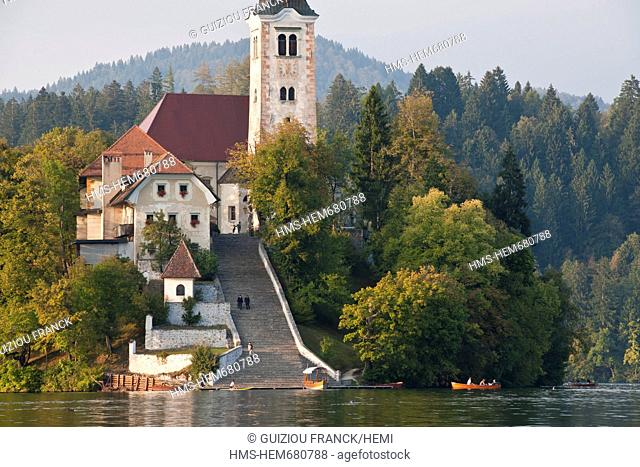 Slovenia, Gorenjska Region, Bled, the church of Assumption on the island of the lake Bled