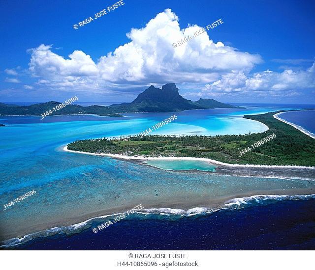Tahiti, Bora Bora Island, The Lagoon and Otemanu Mountain