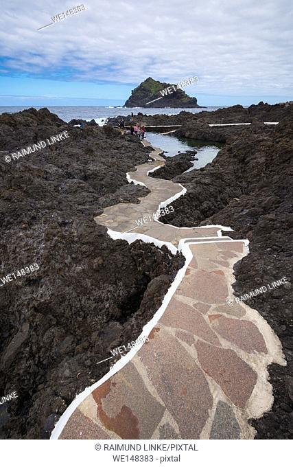 Path to natural swimming pool, Garachico, Tenerife, Canary Islands, Spain