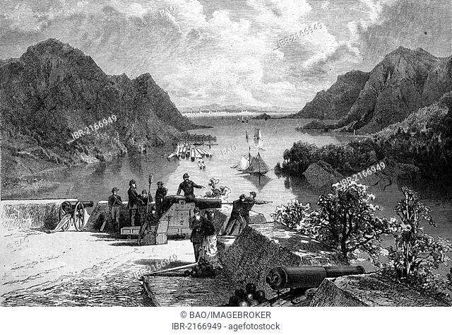 View over the Hudson River, from West Point, New York, United States, historical wood engraving, 1886