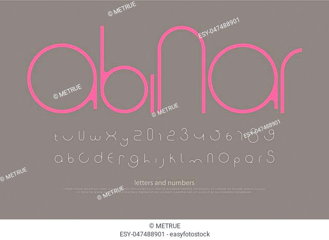 round style alphabet letters and numbers. vector, minimalistic font type design. contemporary, regular lettering. geometric, decorative typesetting
