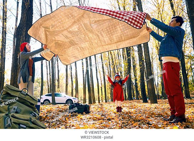 Happy family outdoor camping