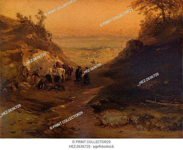 'A Rocky Gorge, with Figures and Horses', 1848, (1938). Artist: Unknown