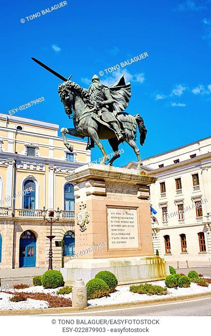 Burgos Cid Campeador statue in Castilla Leon of Spain