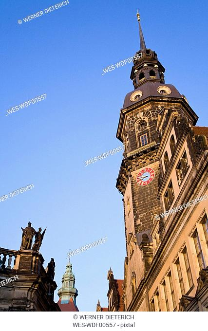 Germany, Dresden, Hausmannsturm, low angle view