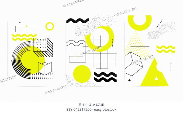 Universal posters collection with bright bold geometric yellow elements, chaotic composition in restrained sustained tempered style