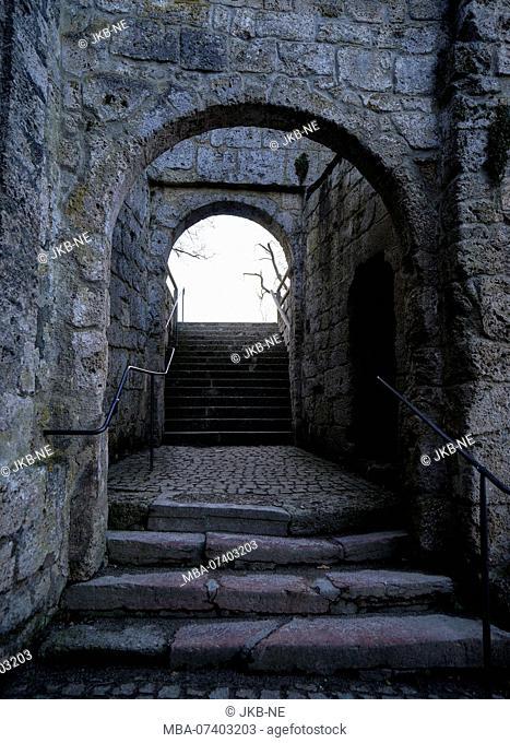 Germany, Bavaria, Upper Bavaria, Burghausen, castle, gate, passage, stone stairs, dark, gloomy