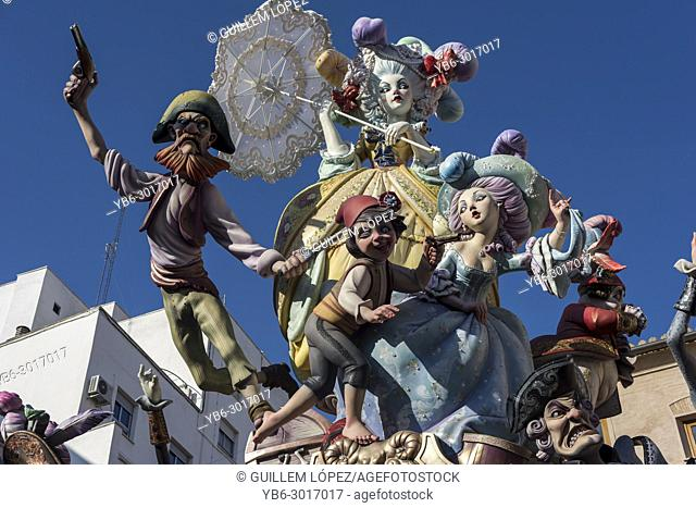 """A Falla sculpture display on a city square during the annual """"""""Las Fallas"""""""" Festival taking place in Valencia, Spain"""