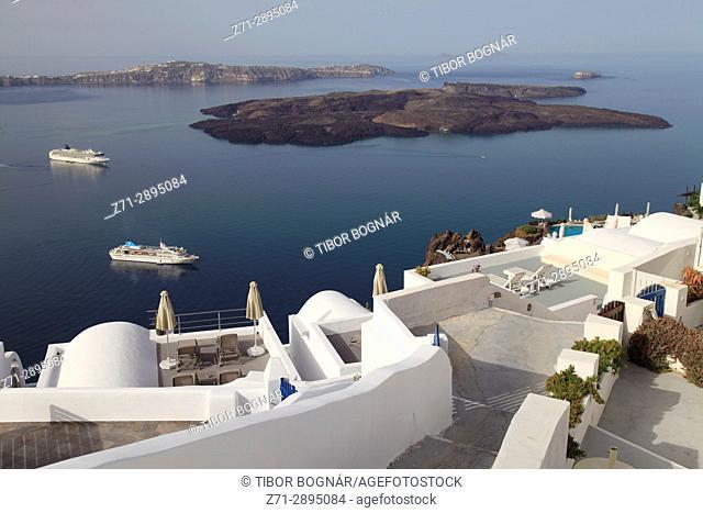 Greece, Cyclades, Santorini, Imerovigli, terrace, cruise ships, Nea Kameni island,