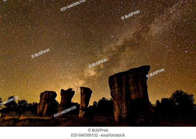 Milky Way rises over stone at Mor hin khaw,Thailand