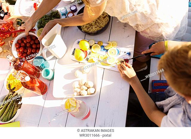 Preparations for garden party