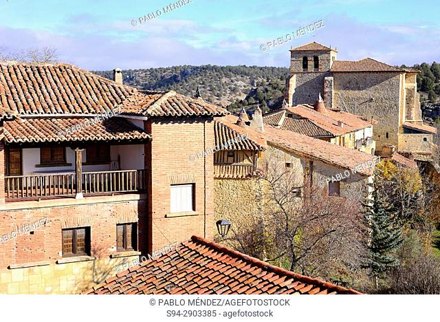 View of the church of Our Lady of Calatañazor from the castle. Soria province, Spain